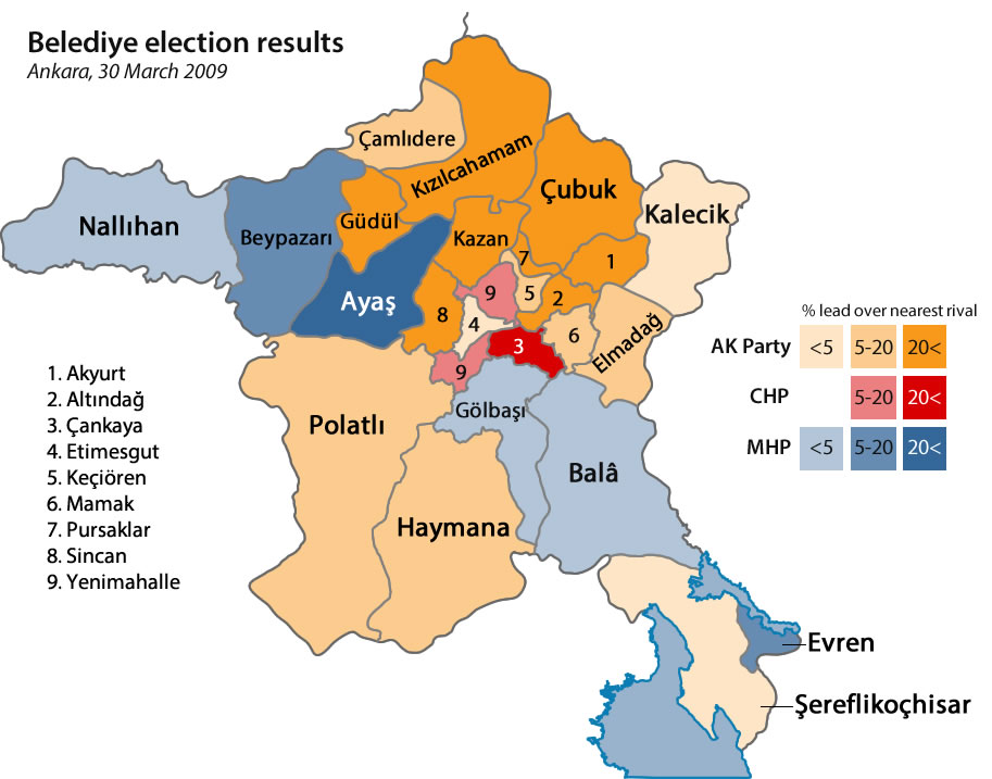 Ankara election results by district, 2009