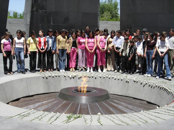 Children at the Armenian Genocide Memorial in Yerevan, June 2005