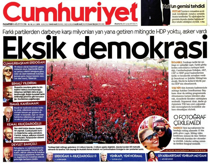 Only one newspaper mentioned the HDP on Monday