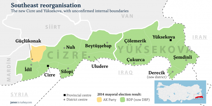 The new Cizre and Yüksekova (borders TBC)